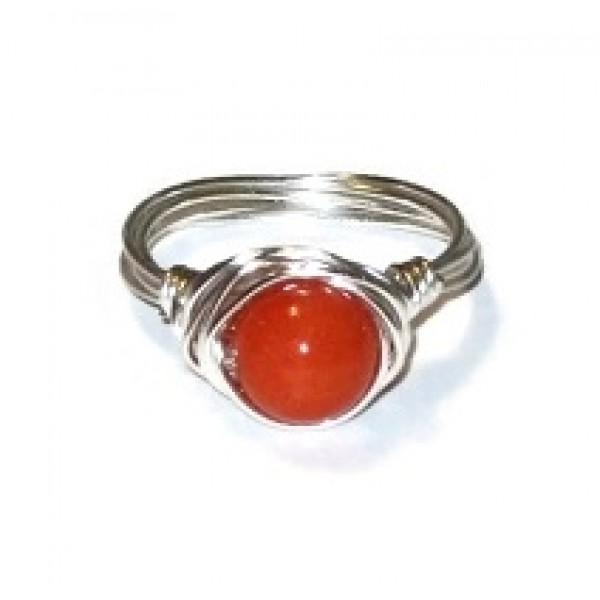 Orange Jade Wire-Wrapped Ring