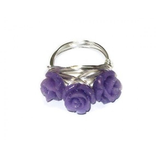 Purple 3 Flower Wire-Wrapped Ring