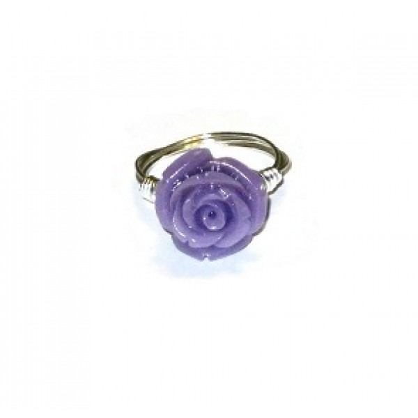 Purple Carved Flower Wire-Wrapped Ring