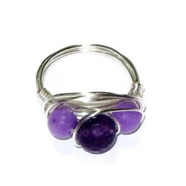 Purple Jade Trio Wire-Wrapped Ring