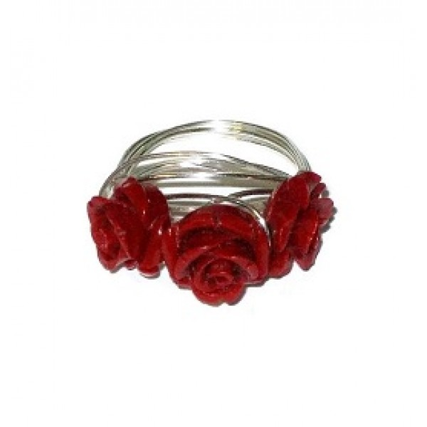 Red 3 Flower Wire- Wrapped Ring