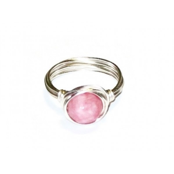Strawberry Pink Jade Wire-Wrapped Ring