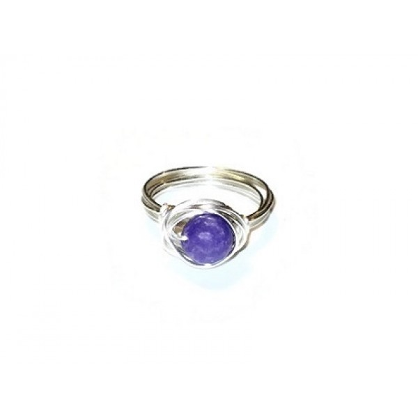 Violet Jade Wire-Wrapped Ring