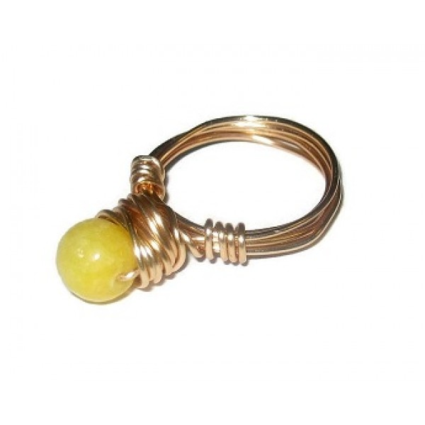 Yellow Faceted Jade Wire-Wrapped Ring with Goldtone Non-Tarnish Wire