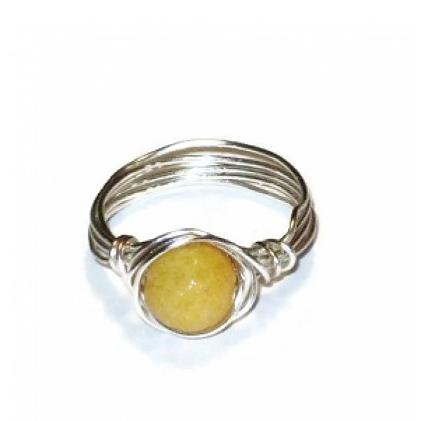 Yellow Jade Wire-Wrapped Ring with Silvertone Wire