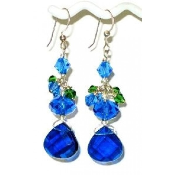 Royal Blue and Green Earrings