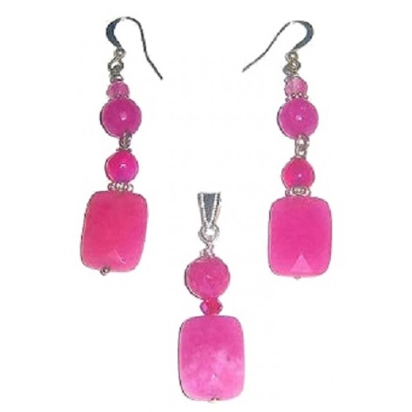 Fuchsia Jade Pendant and Dangle Earrings Set
