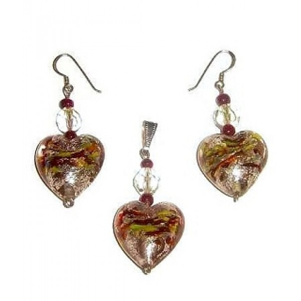 Champagne Foil Glass Heart Pendant Set