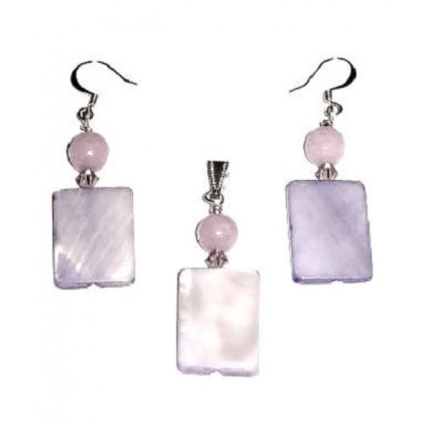 Lilac Mother-of-Pearl Rectangle Pendant Set
