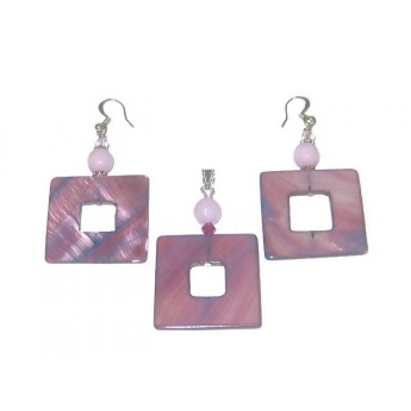 Raspberry Purple  Mother-of-Pearl and Lilac Jade Pendant and Earrings Set