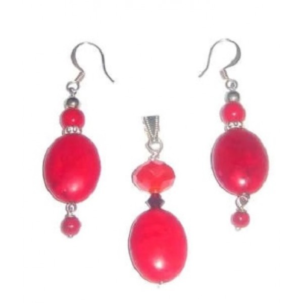 Deep Red Coral Pendant Set