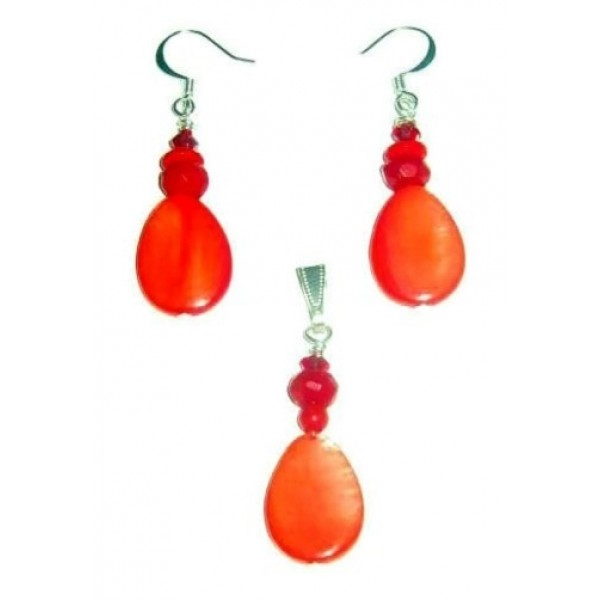 Orange Red Mother of Pearl Teardrop Pendant and Earrings Set with Deep Red Beads