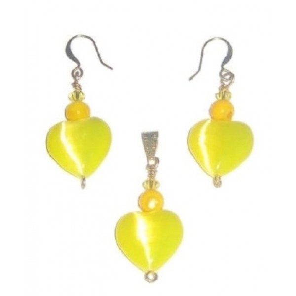 Yellow Heart Pendant and Earrings Set