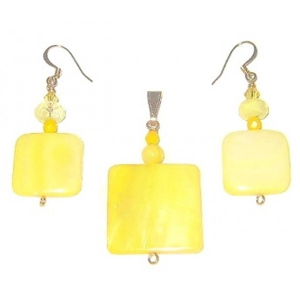Yellow Mother-of-Pearl Square Pendant and Earrings Set