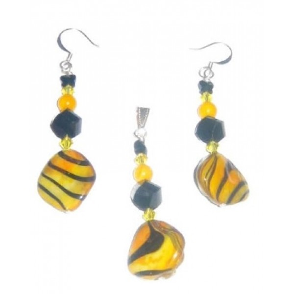 Yellow and Black Zebra Shell Pendant and Earriings Set with Black Butterfly Crystal
